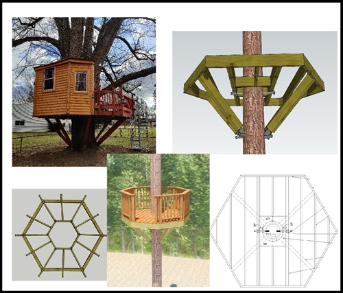 10' Hexagon Treehouse Plan | Standard Treehouse Plans ...