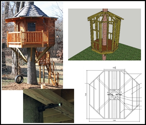 12 39 octagon treehouse plan standard treehouse plans for Free treehouse plans and designs