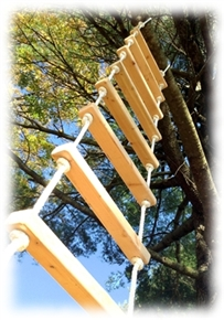 A 8' rope ladder made of 2x3s and .5 inch rope
