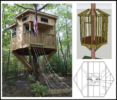 8 39 hexagon treehouse plan standard treehouse plans for Hexagon deck plans