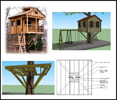 10 39 square treehouse plan standard treehouse plans for Free treehouse plans