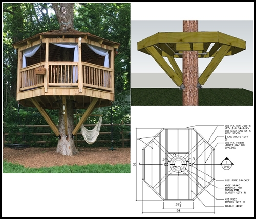 8 39 octagon treehouse plan standard treehouse plans for Free treehouse plans